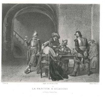 """""""La partita a scacchi"""" dal dipinto di f.Gomin, litografia di Giovanni PICCONE, Torino 1860 (collezione privata A. Ciaramella)"""